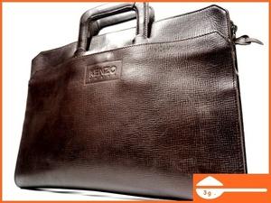 即決★KENZO★オールレザービジネスバッグ ケンゾー 本革 本皮 茶 ダークブラウン ハンドバッグ 出張 出勤 通勤 かばん 鞄 B222 3g.