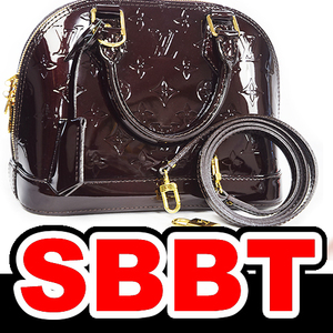 ●【SBBT】up LOUIS VUITTON ルイヴィトン アルマBB ヴェルニ M91678 アマラント ハンドバッグ ショルダーバッグ 本物 新同