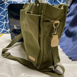 帆布キャンバストートバッグa4 大容量ショルダー斜め掛けバッグ無地(カーキ)