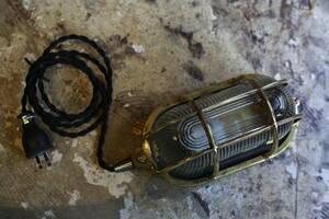 アンティーク 照明  真鍮 カプセル ランプ インダストリアル ライト 船舶  フランス フレンチ