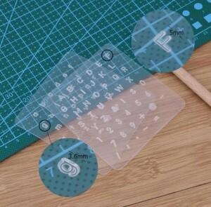 レザークラフト用スタンプ アルファベット 大文字 小文字 数字 透明 プレート