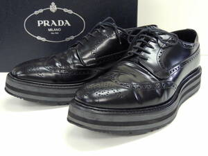 本物 プラダ PRADA 2EG 015 厚底 ウイングチップ レザー ドレス シューズ 革靴 7 1/2 黒 ブラック プラットフォーム メダリオン