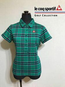【美品】 le coq sportif golf ルコック ゴルフ ウェア レディース タータンチェック ポロシャツ サイズL 半袖 スマートフィット 緑 紺