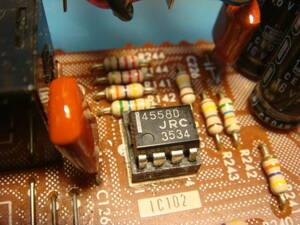 Vintage オペアンプ JRC 4558D 中古品 艶あり 縦線 ロット NO: 3534 1983年 4558 エフェクター