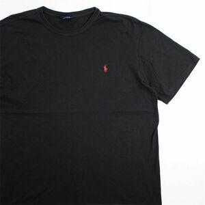 メンズUS-XLサイズ Polo by Ralph Lauren ポロラルフローレン クルーネック半袖ワンポイントロゴTシャツ ブラック系 ポニー刺繍 as-0193n