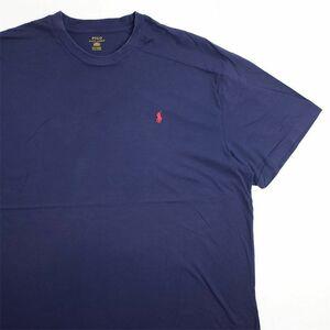 メンズUS-3XLサイズ Polo Ralph Lauren ポロラルフローレン クルーネック半袖ワンポイントロゴTシャツ ネイビー系 ポニー刺繍 as-0195n
