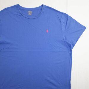 メンズUS-XXLサイズ Polo Ralph Lauren ポロラルフローレン クルーネック半袖ワンポイントロゴTシャツ ブルー系 ポニー刺繍 as-0189n