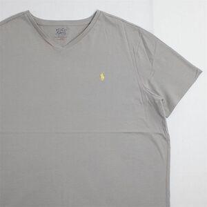 メンズUS-XXLサイズ Polo Ralph Lauren ポロラルフローレン Vネック半袖ワンポイントロゴTシャツ グレー系 ポニー刺繍 as-0186n