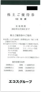 甲南☆エコスグループ☆株主優待券☆10,000円分(100円×100枚)☆2021.11.30【管理4113】