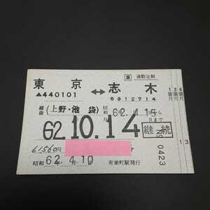 (JR東日本)補充定期券【国鉄字模様】