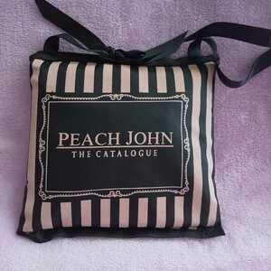 PEACH JOHN ピーチ・ジョン ピンク×ブラック エコバッグ ストライプ ドット 未使用