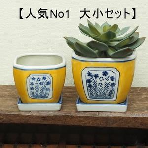 【人気No1】植木鉢 大小2点セット 黄色 四角 インテリア 風水 苔 和風 和柄 染付  サボテン 多肉植物 盆栽 鉢