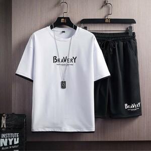 【人気】Tシャツ メンズ半袖 トップス ハーフ ショート パンツ 上下 セット