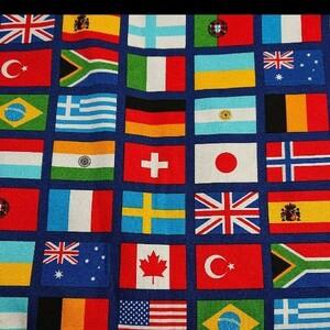 日本製 オックスプリント生地 国旗柄
