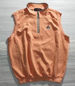 《le coq sportif GOLF ルコックゴルフ》ロゴ刺繍 ビッグプリント ハーフジップ ベスト オレンジ LL