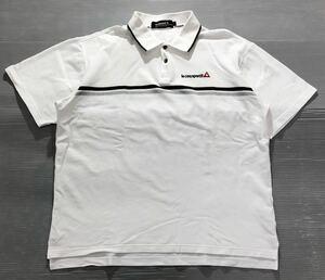 《le coq sportif GOLF ルコックゴルフ》ロゴ刺繍 ライン入 半袖 ポロシャツ ホワイト L