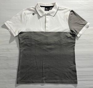 《DESCENTE GOLF デサントゴルフ》ラバーロゴワッペン 切替デザイン 半袖 ポロシャツ ホワイト×グレー O