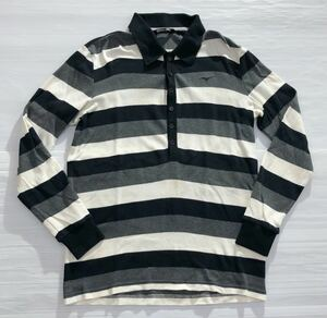 《Mizuno ミズノ》ロゴ刺繍 ボーダー柄 長袖 ポロシャツ ホワイト×グレー×ブラック M