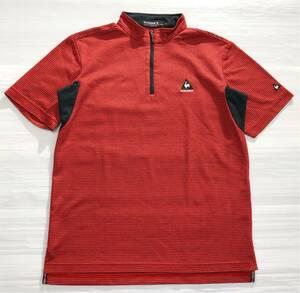 《le coq sportif GOLF ルコックゴルフ》ロゴ刺繍 ボーダー柄 ハーフジップ 半袖 モックネックシャツ レッド×ブラック M