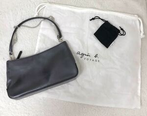 《agnes b. アニエスベー》レザー ベルト付け替え可能 ハンドバッグ ブラック