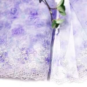 チュールレース レース生地 ラベンダー生地 バラ刺繍