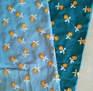綿麻刺繍生地/厚手40 刺繍小花柄 新カラー