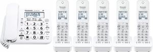子機5台付 Panasonic パナソニック コードレス 留守番 電話機 (VE-GD27DL-W子機1台付+増設子機4台)迷惑対策搭載 増設設定済み