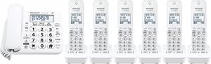 子機6台付 Panasonic パナソニック コードレス 留守番 電話機 (VE-GD27DL-W子機1台付+増設子機5台)迷惑対策搭載 増設設定済み