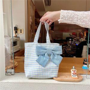 新品 トートバッグ ミニトート おしゃれ リボン付き 可愛い お弁当 ランチバッグ プレゼント キャンパス風 水色