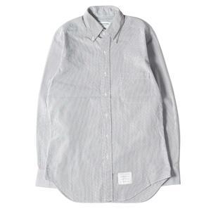 THOM BROWNE トムブラウン シャツ ピンストライプ 柄 コットン ボタンダウンシャツ ネイビー ホワイト 2 トップス フォーマル カジュアル