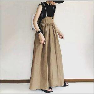 キャミ ロング ワンピース サロペット オールインワン キャメル スカート ロングドレス