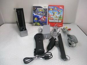 ∫ 152 ゲーム 任天堂 Wii RVL-001 クロ 本体一式 ソフト (ニューマリオブラザーズ・マリオギャラクシー) 2本 セットニンテンドー