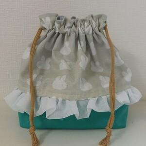 【ハンドメイド】うさぎ柄 お弁当袋 ランチバッグ 巾着