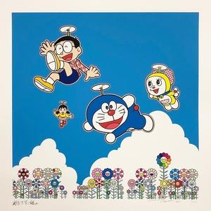 村上隆 ドラえもん 直筆サイン入り 版画 「青空の下、楽しいね」 ED100 シルクスクリーン 新品未開封 Kaikai kiki カイカイキキ 限定100枚