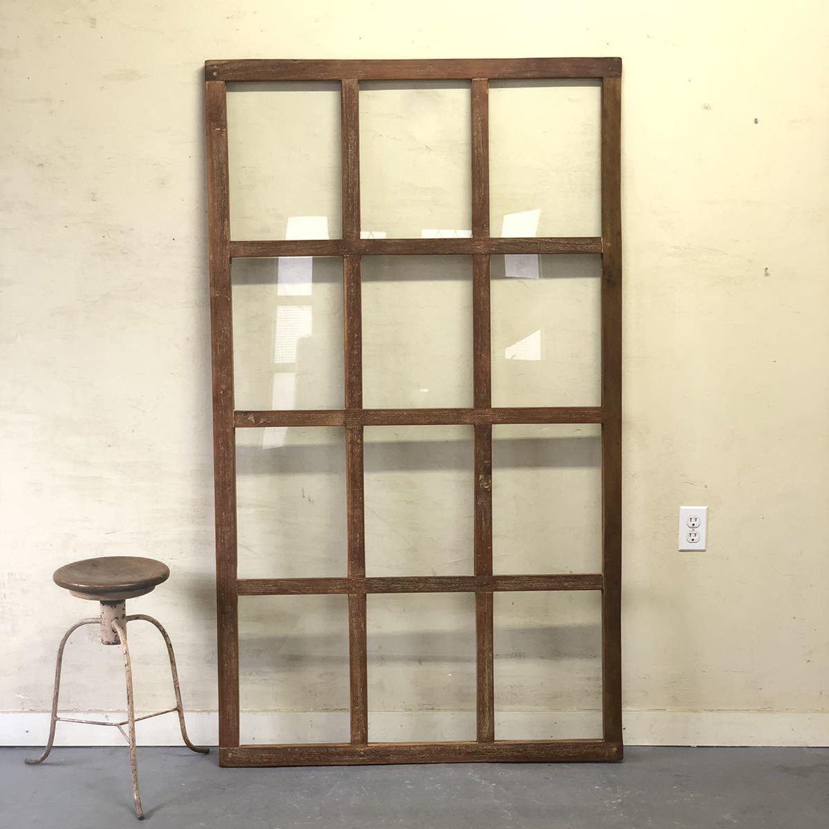 SJ-03〓W100×H72 格子窓 アンティークチークの木製ガラス建具 ハメ殺し 店舗リノベーション パーテーション 扉 建具 DIY ftg