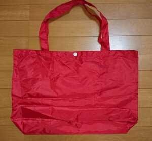 エコバッグ赤無地新品トートバッグ折りたたみ内ポケットナイロン携帯用レッド買い物バッグ手提げかばん水泳バッグ鞄プールバッグ軽量カバン