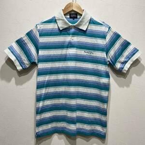 PEARLY GATES パーリーゲイツ 半袖 ポロシャツ メンズ ゴルフ ウェア トップス ボーダー 白 緑 水色 日本製 サイズ 4