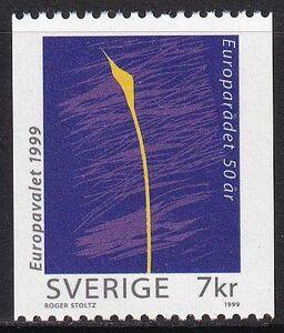★☆★ 美しい北欧切手 スウェーデン 1999 欧州理事会50周年 1種完 未使用 NH ★☆★
