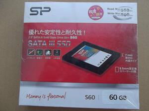 即決★ シリコンパワー 2.5インチ 内蔵型SSD SATAIII 6Gb/s S60シリーズ 60GB SP060GBSS3S60S25JA