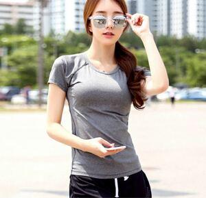 XL レディース Tシャツ単品 シンプル ランニングウェア 吸汗速乾 スポーツウェア スポーツインナー 半袖