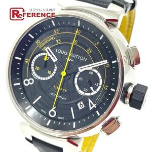 LOUIS VUITTON ルイヴィトン Q102B クロノグラフ タンブール フライバック 自動巻き メンズ腕時計 SS/革ベルト メンズ シルバー×ブラック