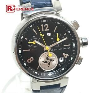 LOUIS VUITTON ルイヴィトン Q132G タンブール ラブリーカップMM クロノグラフ デイト レディース腕時計 SS/アリゲーター ブラック×ブルー