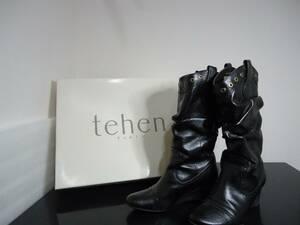 中古品 tehen PARIS レザー ロングブーツEEE 22.5cm ブラック レディース
