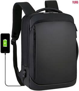 リュックサック  軽量 薄型 35L 大容量 バックパック 防水 通勤 通学 旅行 アウトドア 多機能 USBポート付き 15.6インチ PC対応 ブラック