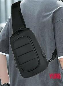 パスワードロックできるボディバッグ 防犯 メンズ 大容量 防水 USBポート ワンショルダーバッグ 軽量 iPad収納 通勤 通学  ブラック