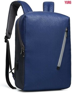 バックパック ビジネスリュック 15.6インチPC ファッションバックパック 大容量 USB充電ポートイヤホン穴付き 男女兼用 ブルー