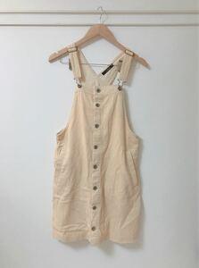 【W Closet】コットンサロペットジャンパースカート 白 ホワイト ベージュ デニム オーバーオール