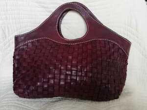 送料込 ◆ robita ロビタ ◆ A4サイズ対応 レザー 本革 編み込み イントレチャート バッグ トートバッグ ハンドバッグ プラム色