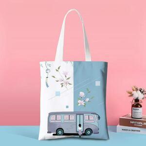 ♪♪トートバッグ 春 バス ガール かわいい キャンバスバッグ 帆布 韓国風 大容量 多機能 通勤 通学 旅行 買い物 エコ おしゃれ♪♪