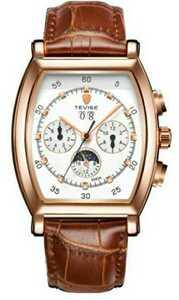 ☆最安値☆ メンズ 高級腕時計 41mm 機械式 自動巻 サン&ムーン 本革ベルト 紳士 ビジネス ファション R/W